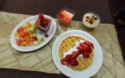 Sunday Brunch Waffle and Fruit